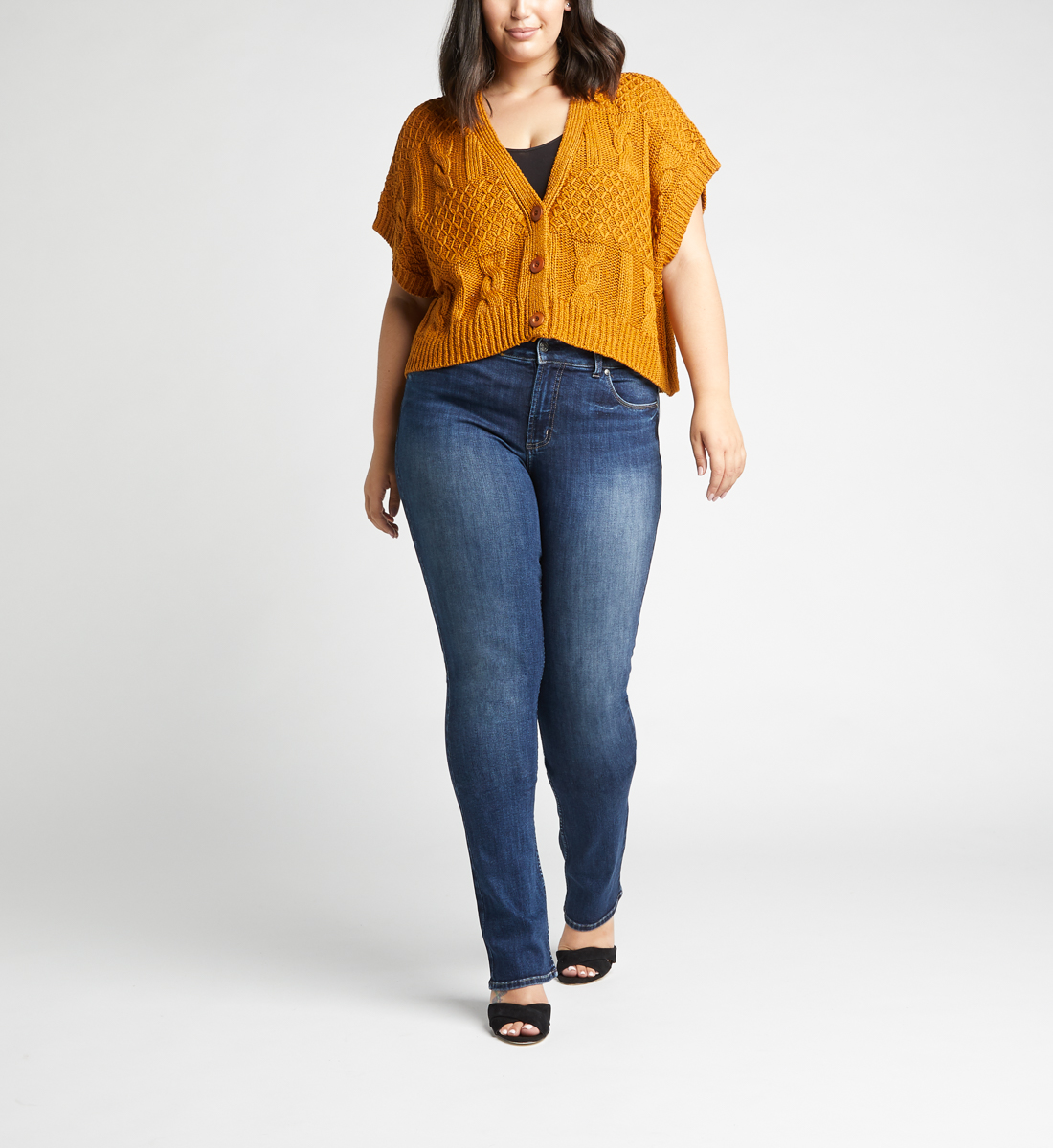Most Wanted Mid Rise Skinny Bootcut Plus Size Jeans Front