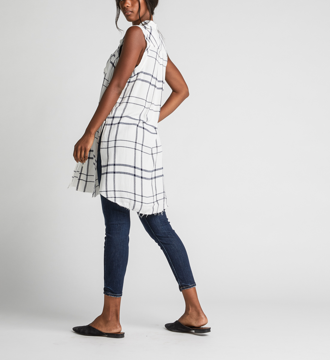 Summer Plaid Frayed Button-Down Tunic Side
