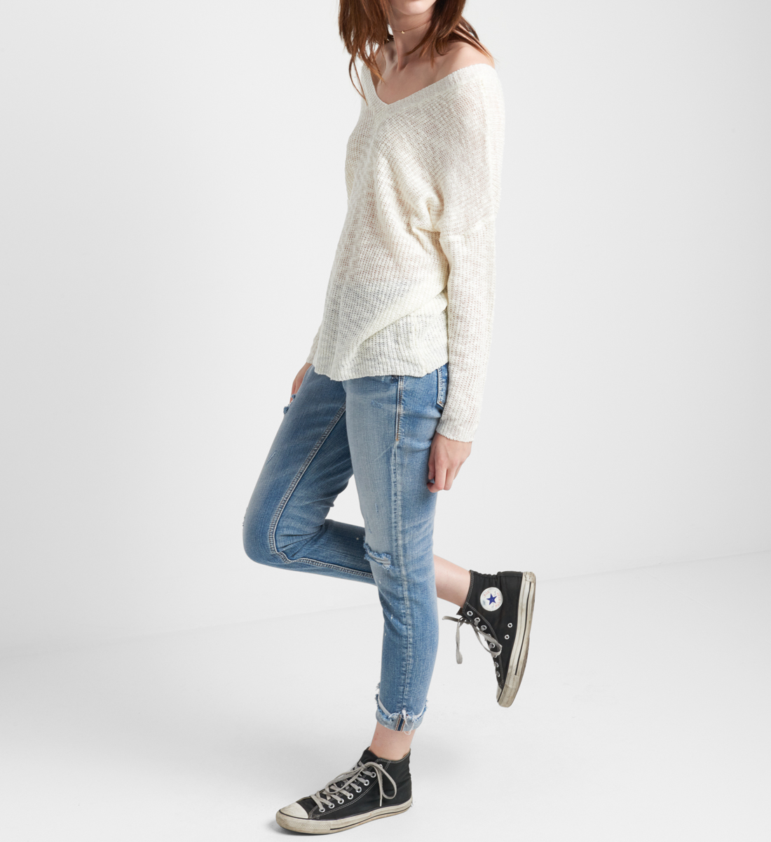 Slub Sweater With V Back, , hi-res