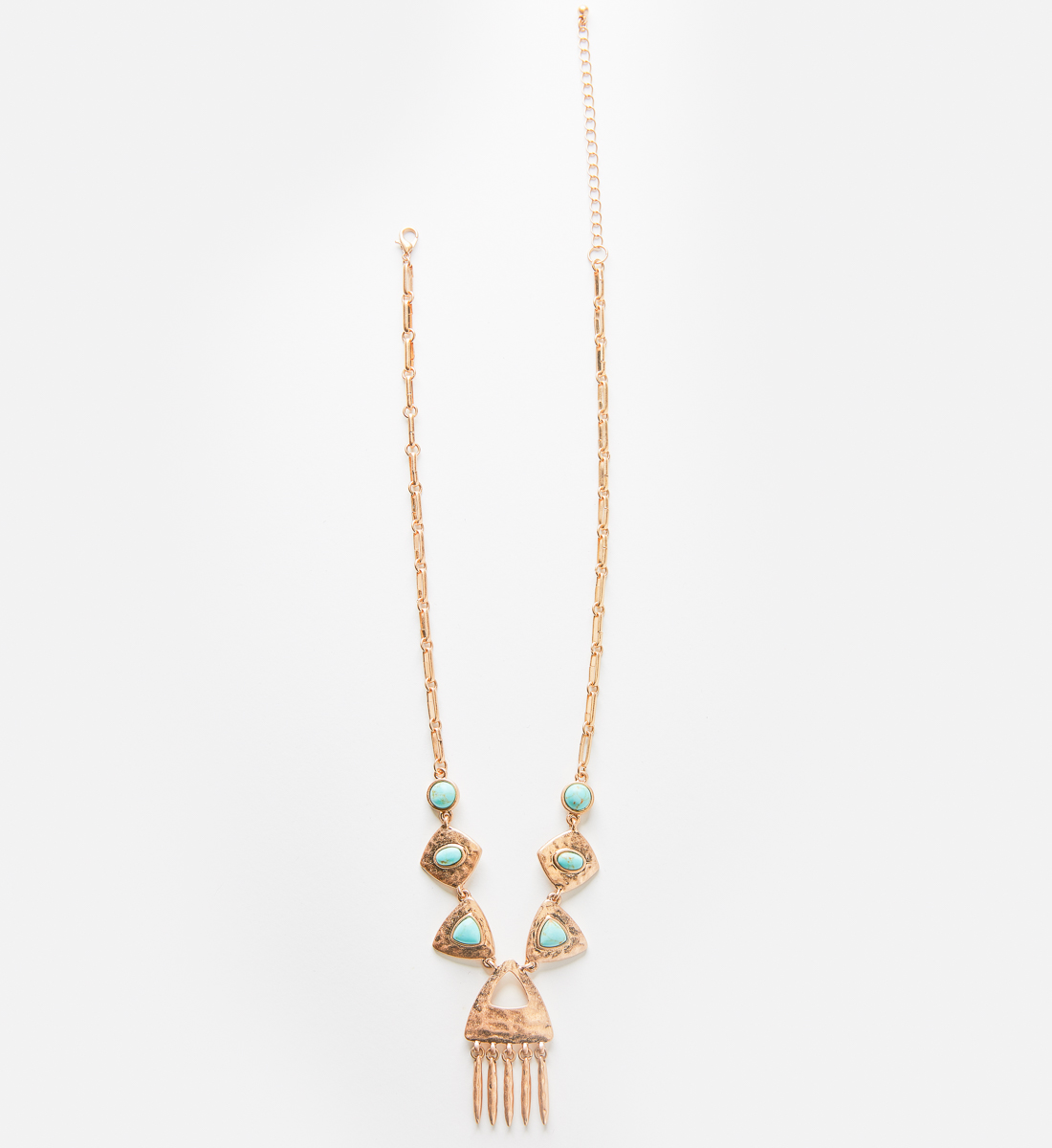 Gold-Tone Hammered Turquoise Necklace Front