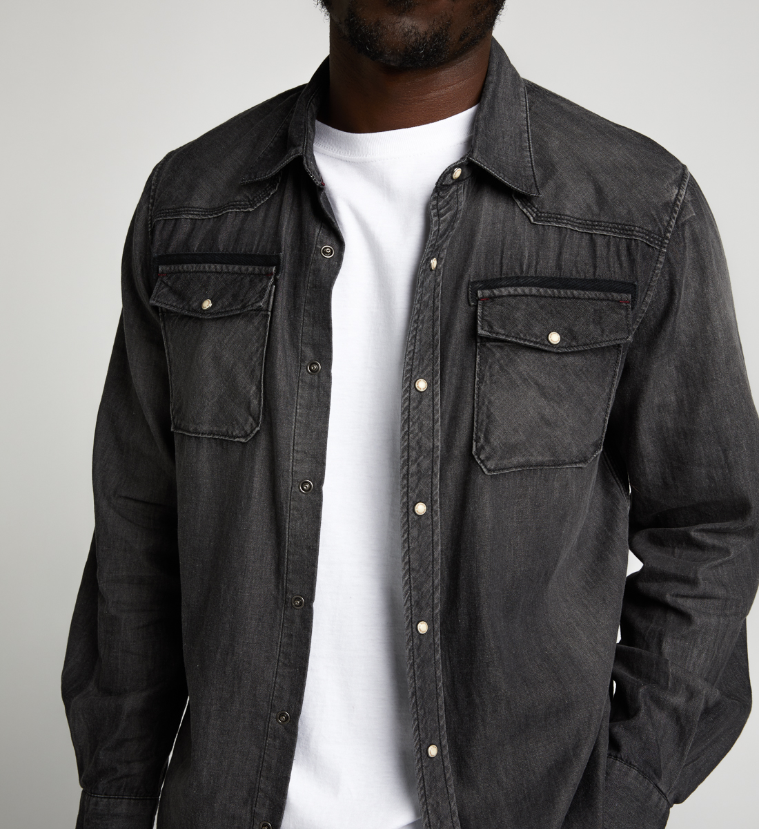Charles Classic Denim Shirt Final Sale,Black Alt Image 1