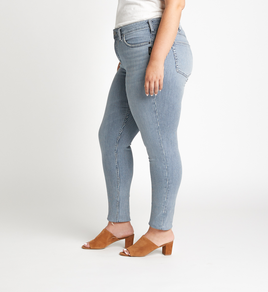 Avery High Rise Pinstripe Skinny Jeans Plus Size Side