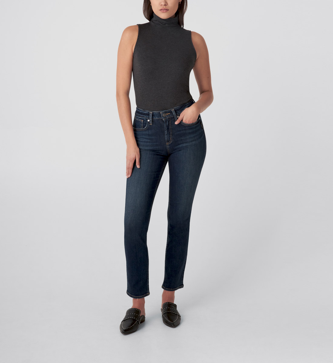 Avery High Rise Straight Leg Jeans  - Eco-Friendly Wash Front