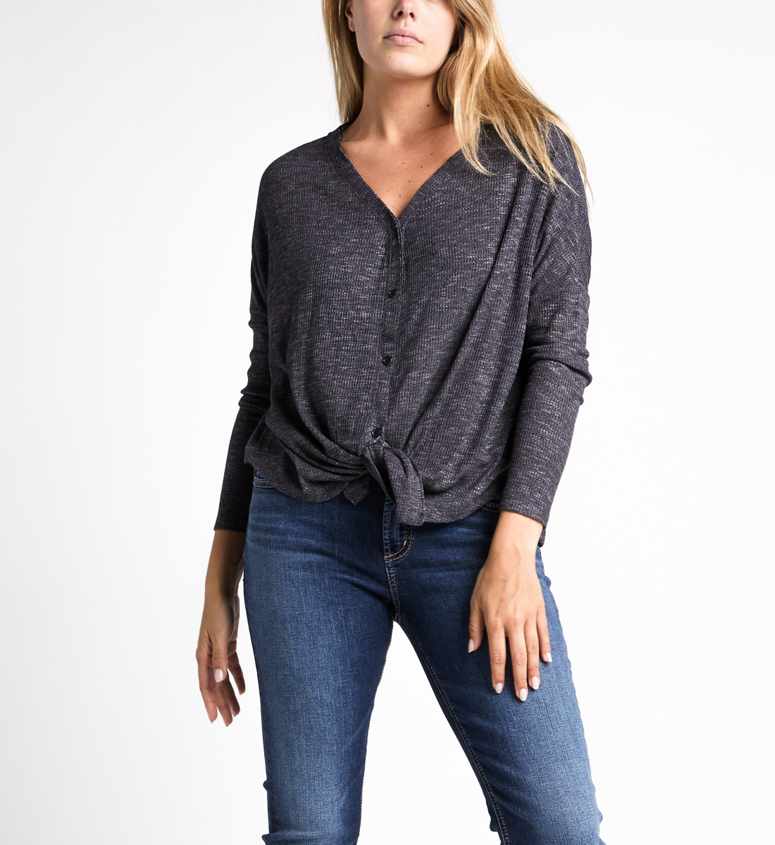 Amelia Button-Front Top,Charcoal Front