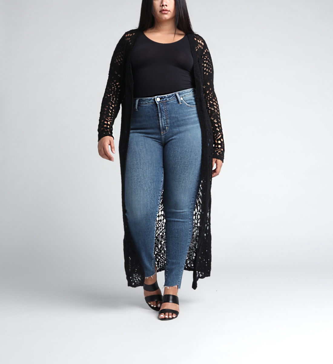 Abby Long-Sleeve Crochet Duster, Black, hi-res