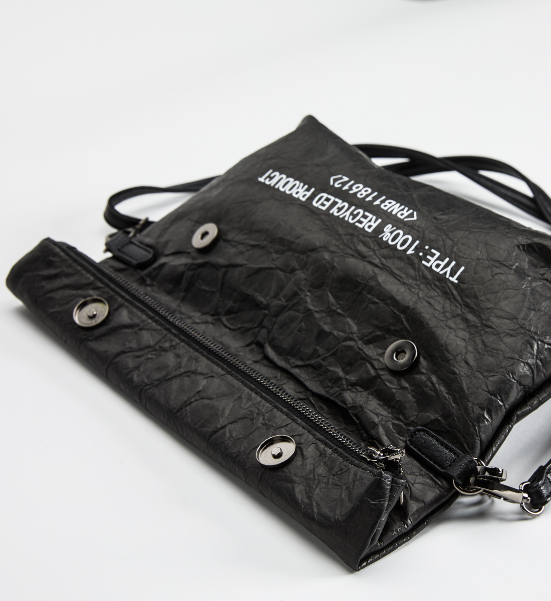 Recycled Paper Convertible Crossbody, Black, hi-res