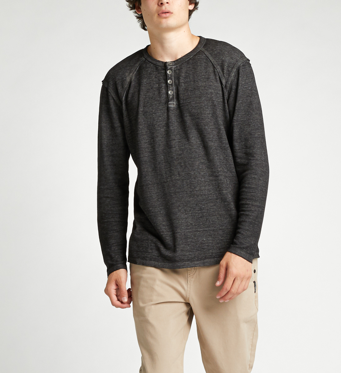 Kylo Long-Sleeve Henley,Black Front