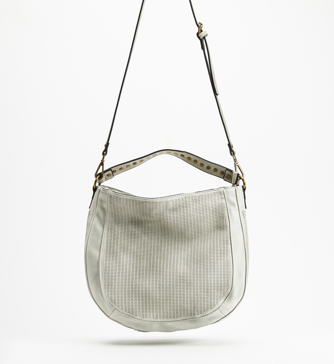 Textured Hobo Crossbody Bag, White, hi-res
