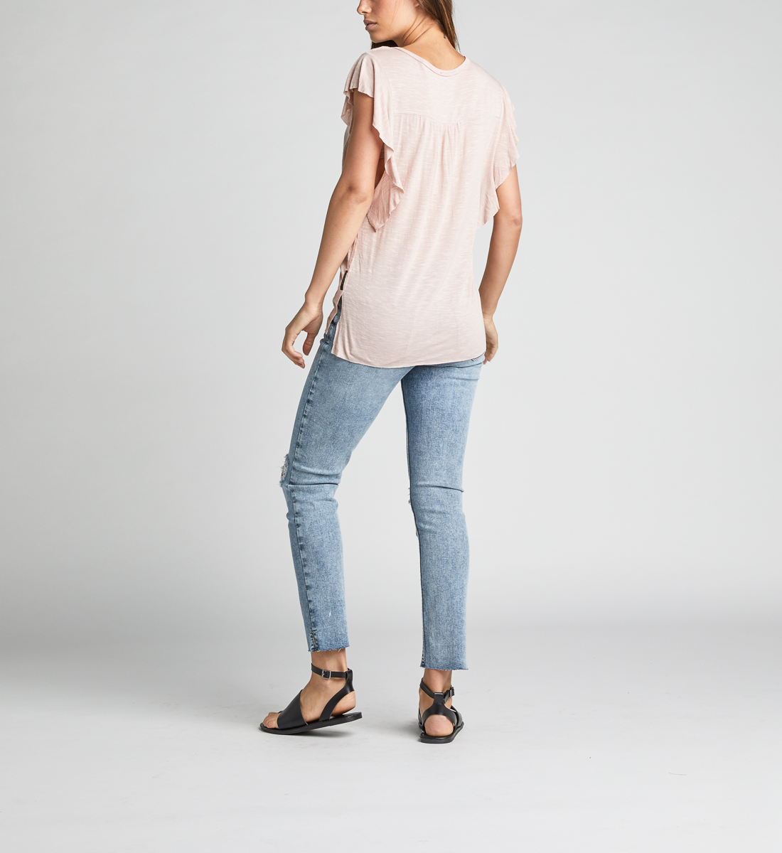 Athena Ruffle-Sleeve Tee,Light Rose Side