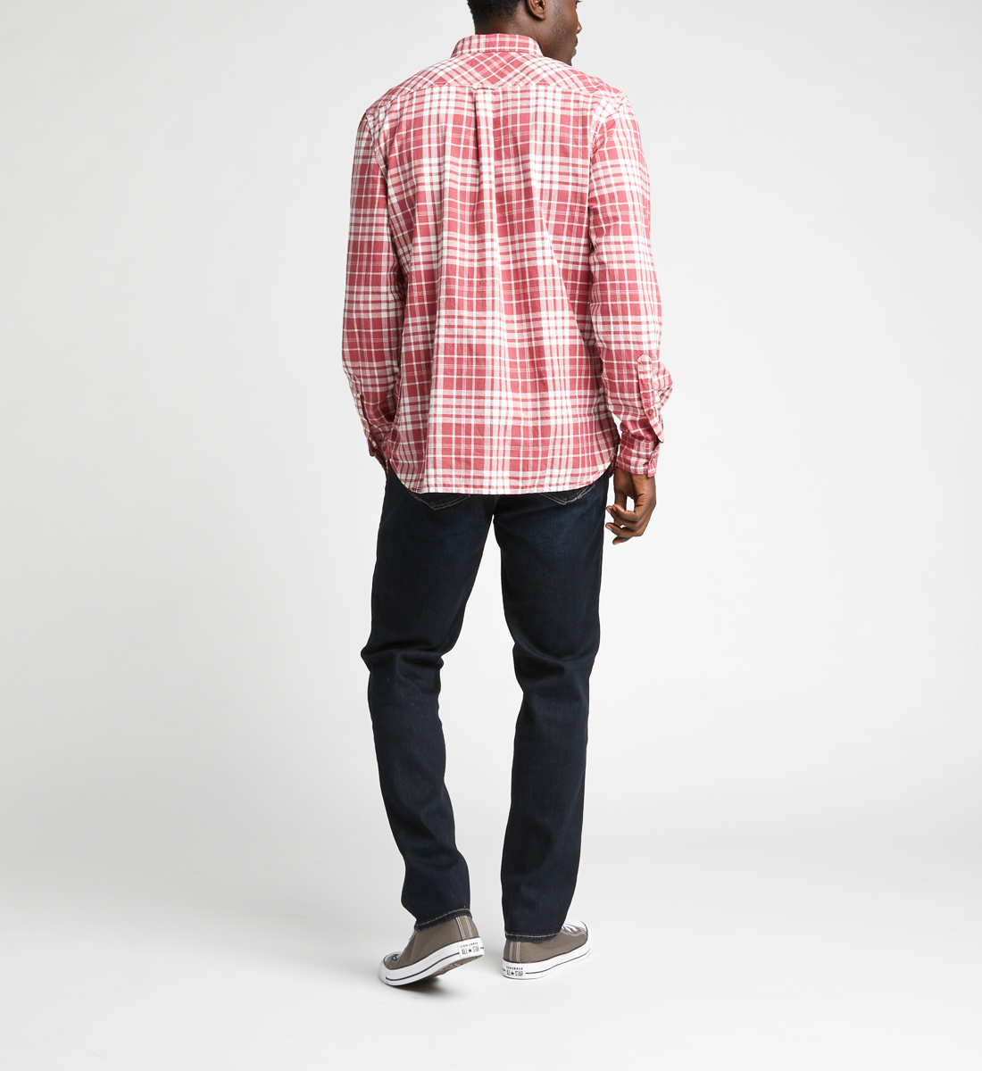 Charly Long-Sleeve Plaid Button-Down Shirt,Red Side