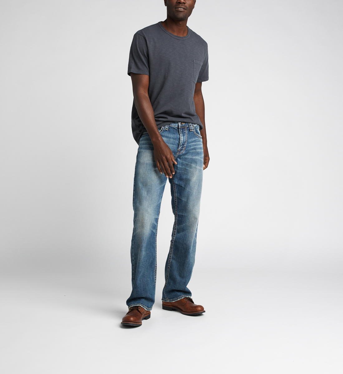 Gordie Loose Fit Straight Jeans,Indigo Front