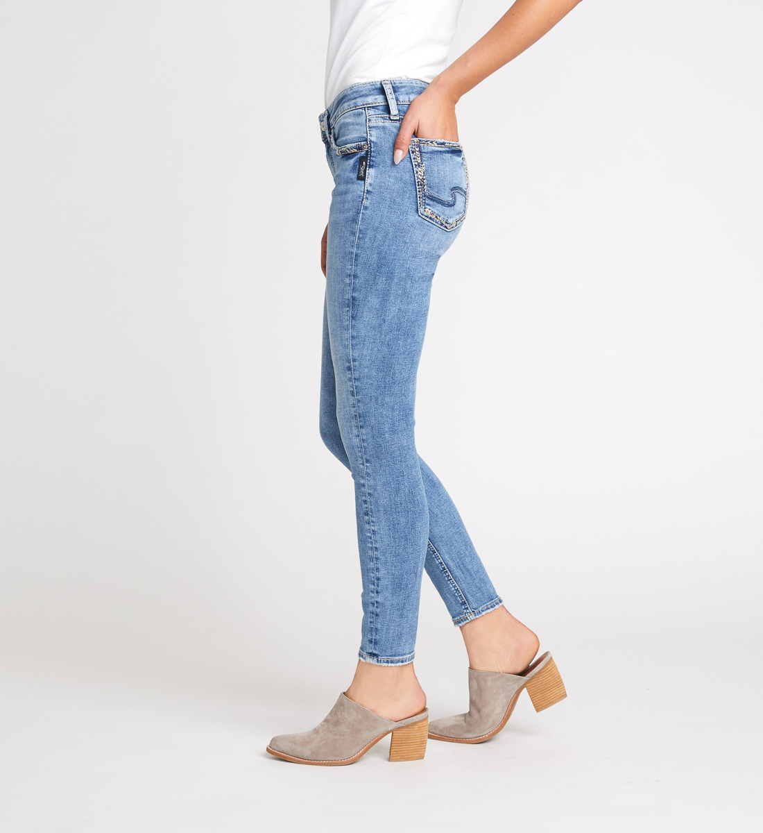 Elyse Mid Rise Skinny Jeans Side
