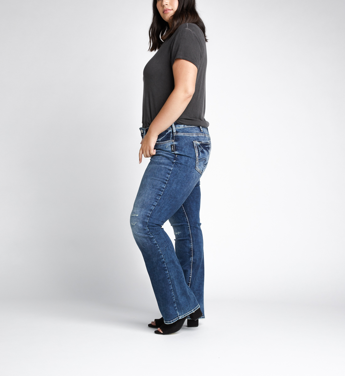 Elyse Mid Rise Bootcut Jeans Plus Size Side