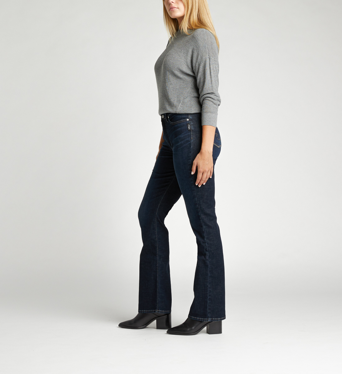 Calley Super High Rise Slim Bootcut Jeans Side