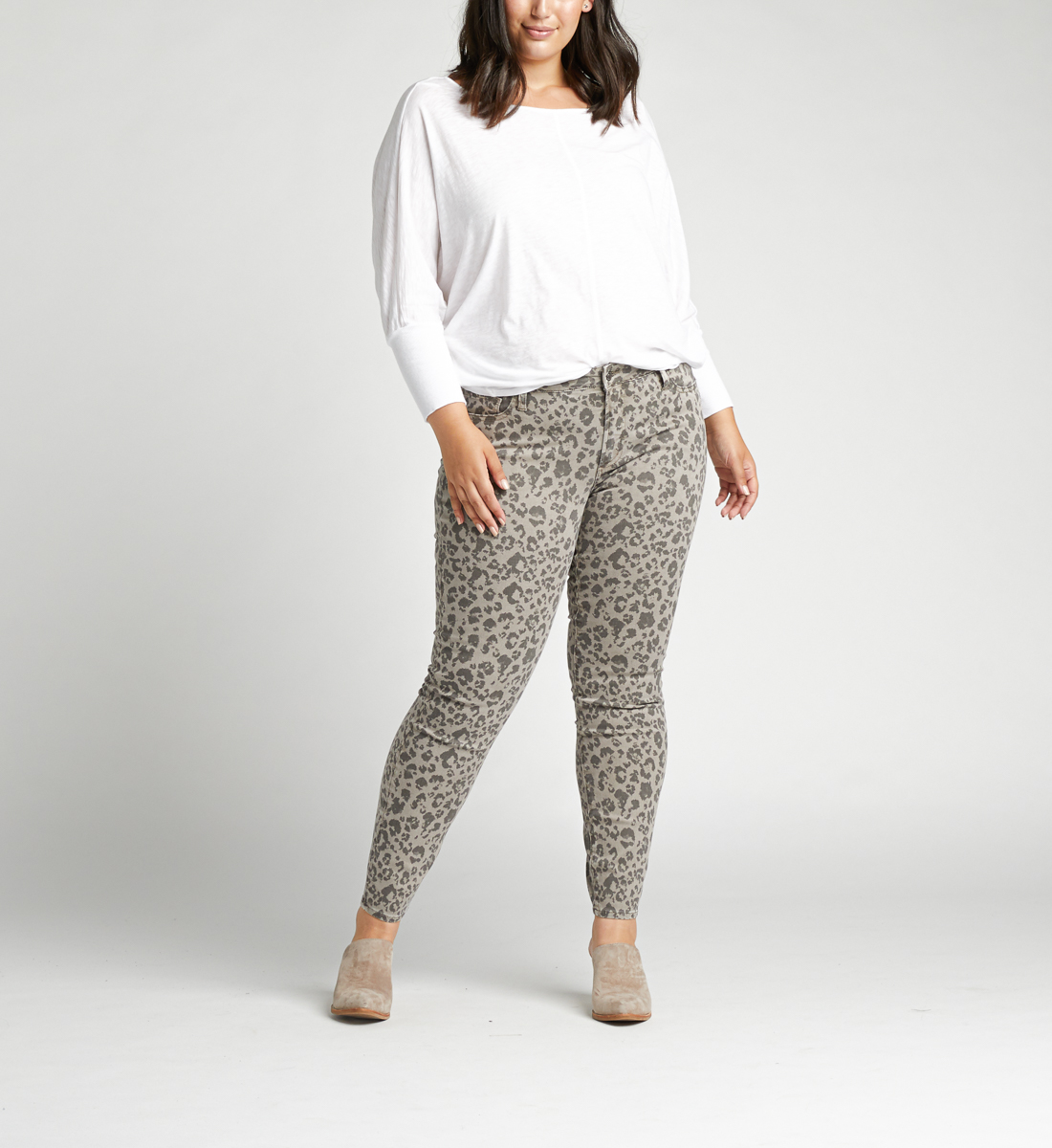 Most Wanted Mid Rise Skinny Plus Size Jeans,Grey Front