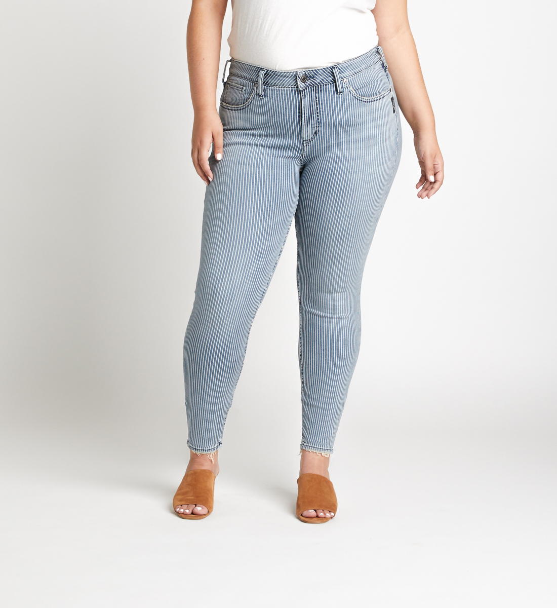 Avery High Rise Pinstripe Skinny Jeans Plus Size Front
