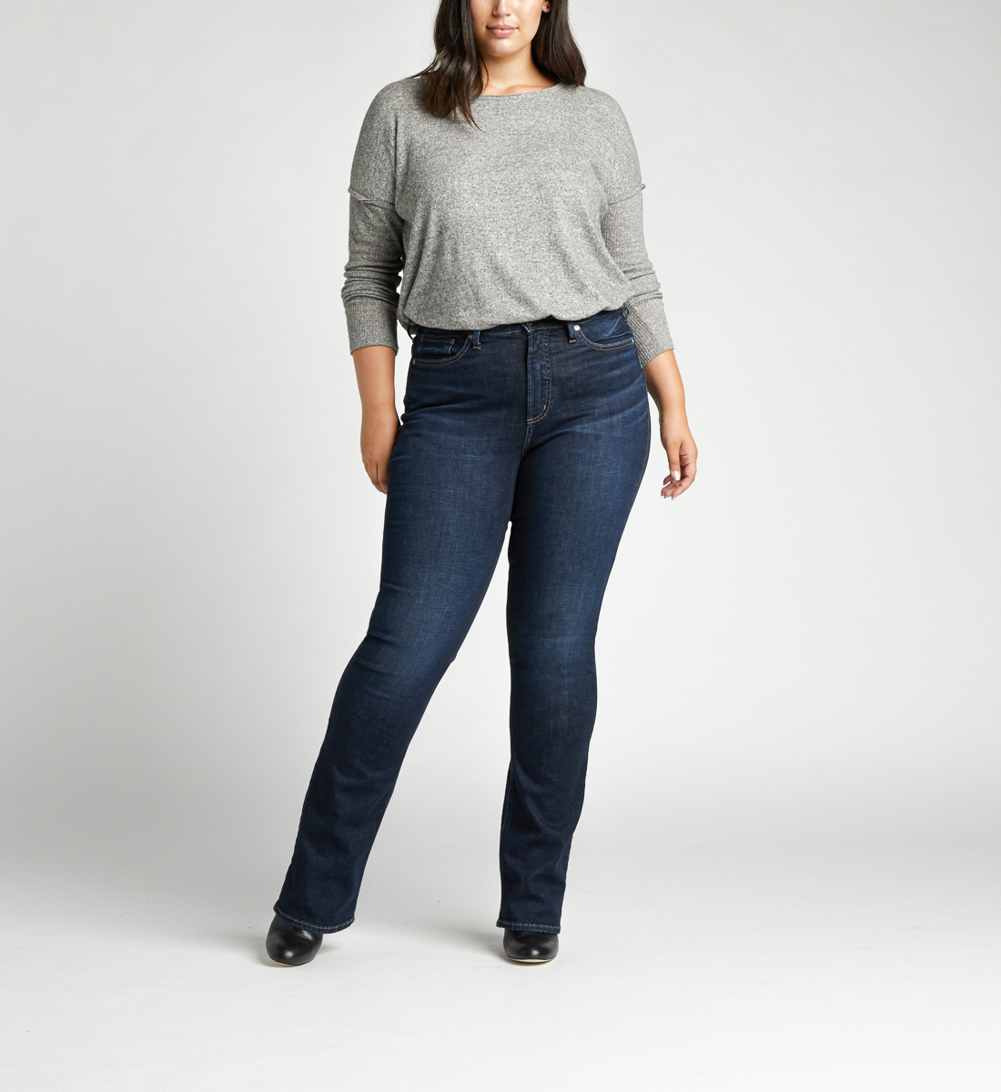Calley Super High Rise Slim Bootcut Plus Size Jeans Front