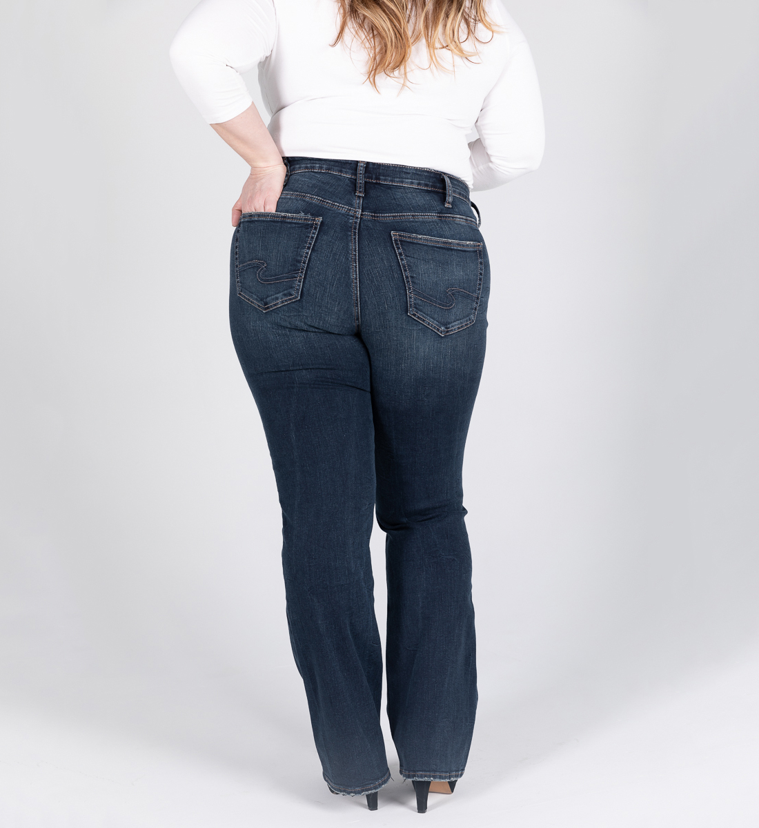 Avery High Rise Slim Bootcut Jeans Plus Size Back