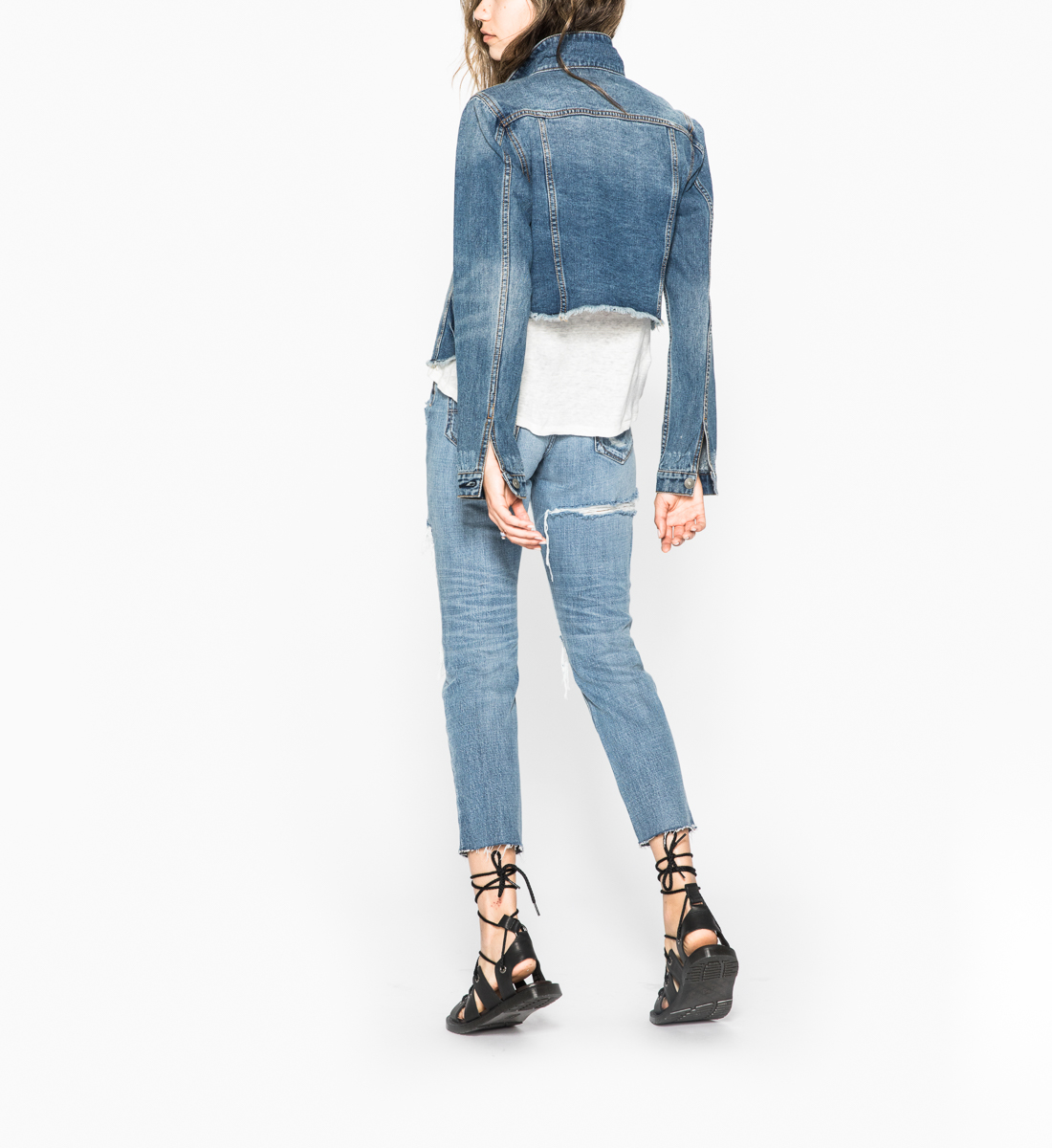 Shelby - Cropped Girlfriend Denim Jacket With Frayed Hem, , hi-res