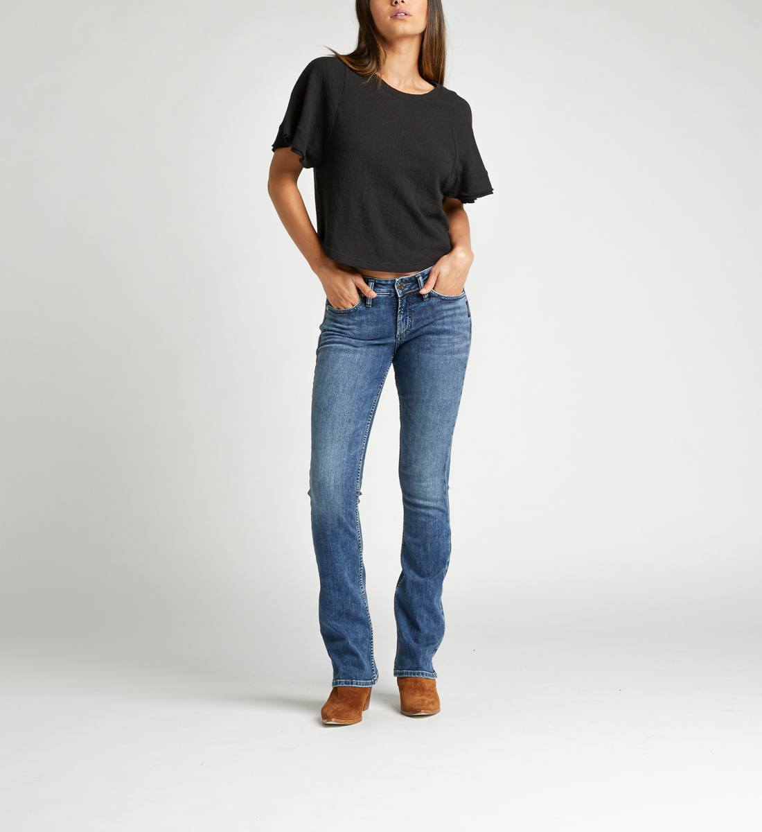 Suki Mid Rise Bootcut Jeans Front