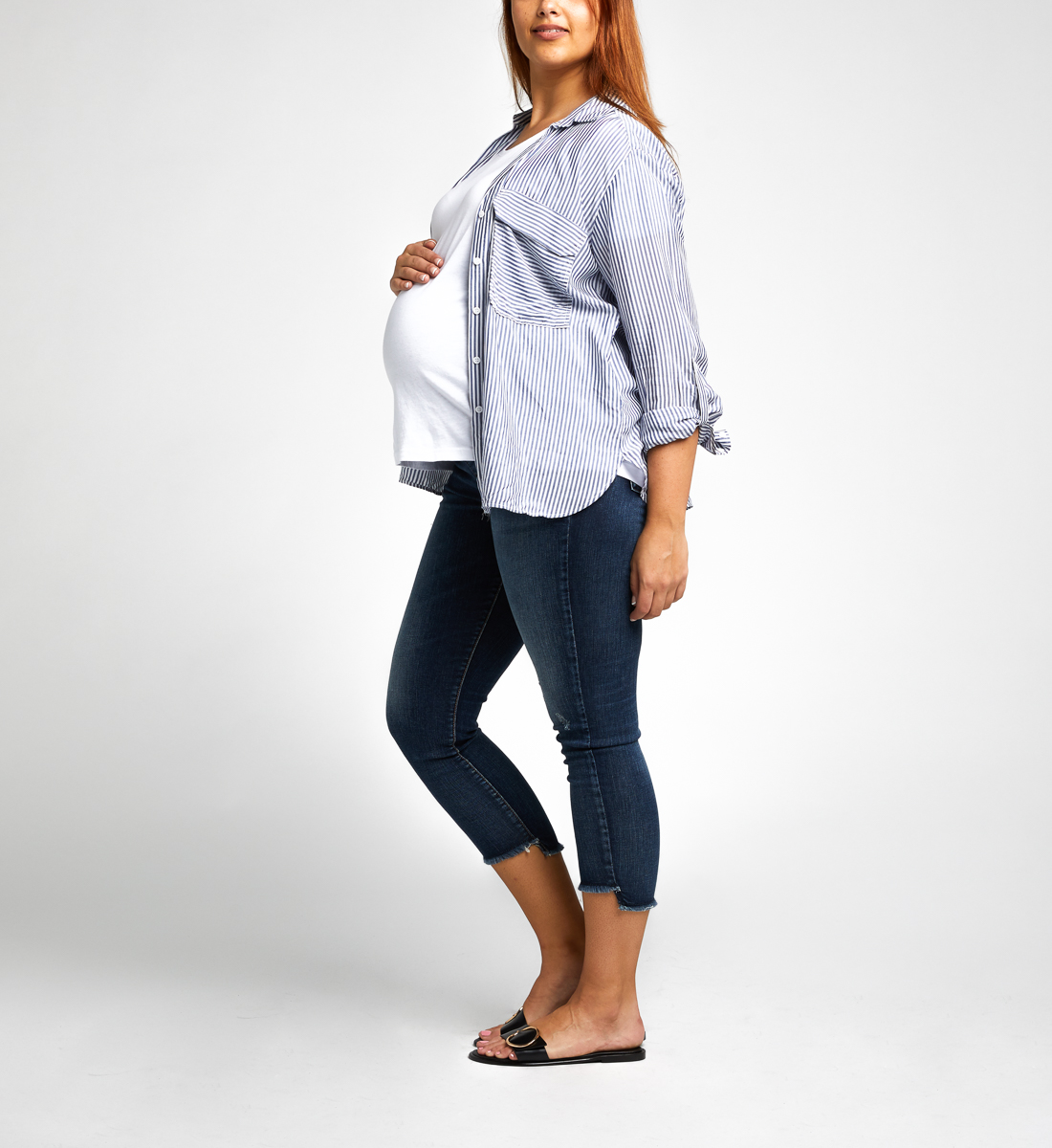Avery Skinny Crop Maternity Jeans Alt Image 1