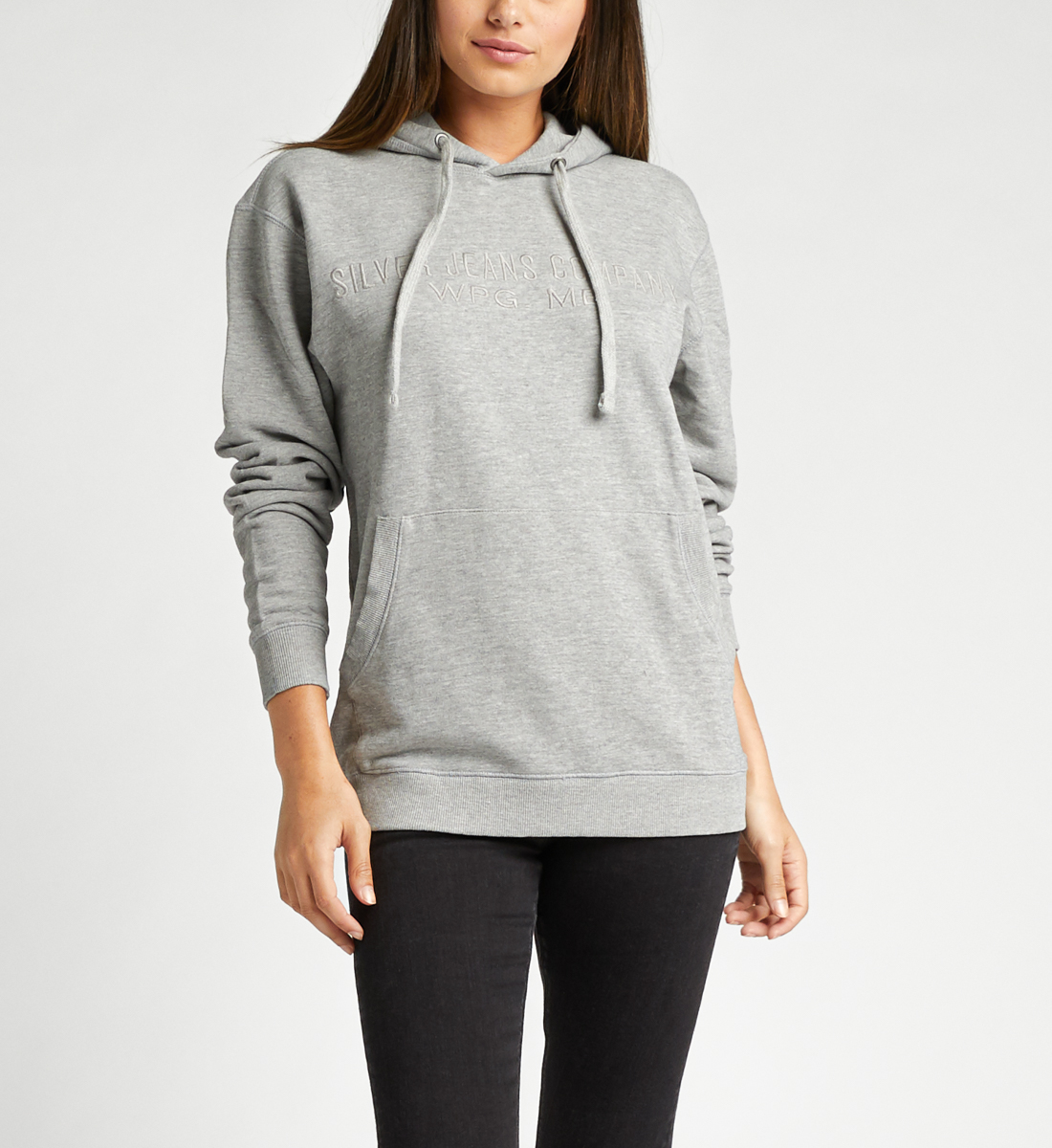 Allenby Unisex Logo Hoodie,Heather Grey Back