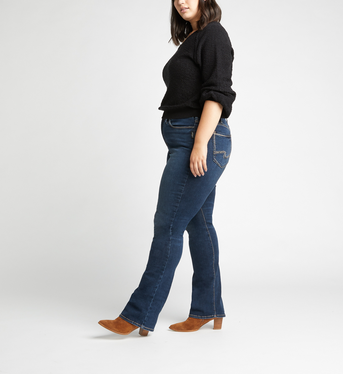 Calley High Rise Slim Bootcut Jeans Plus Size,Indigo Side