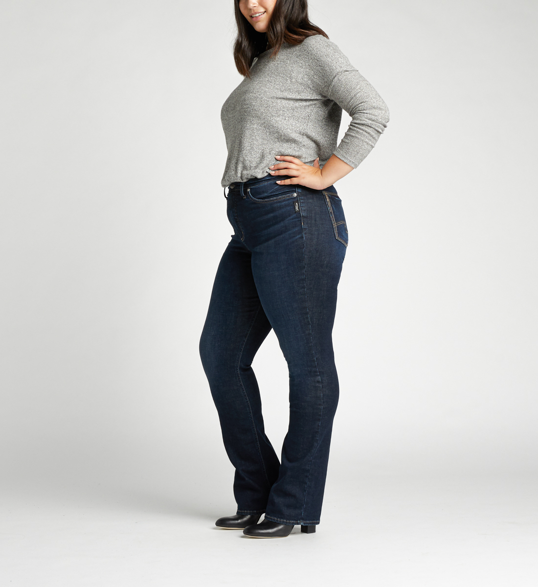 Calley Super High Rise Slim Bootcut Plus Size Jeans Side