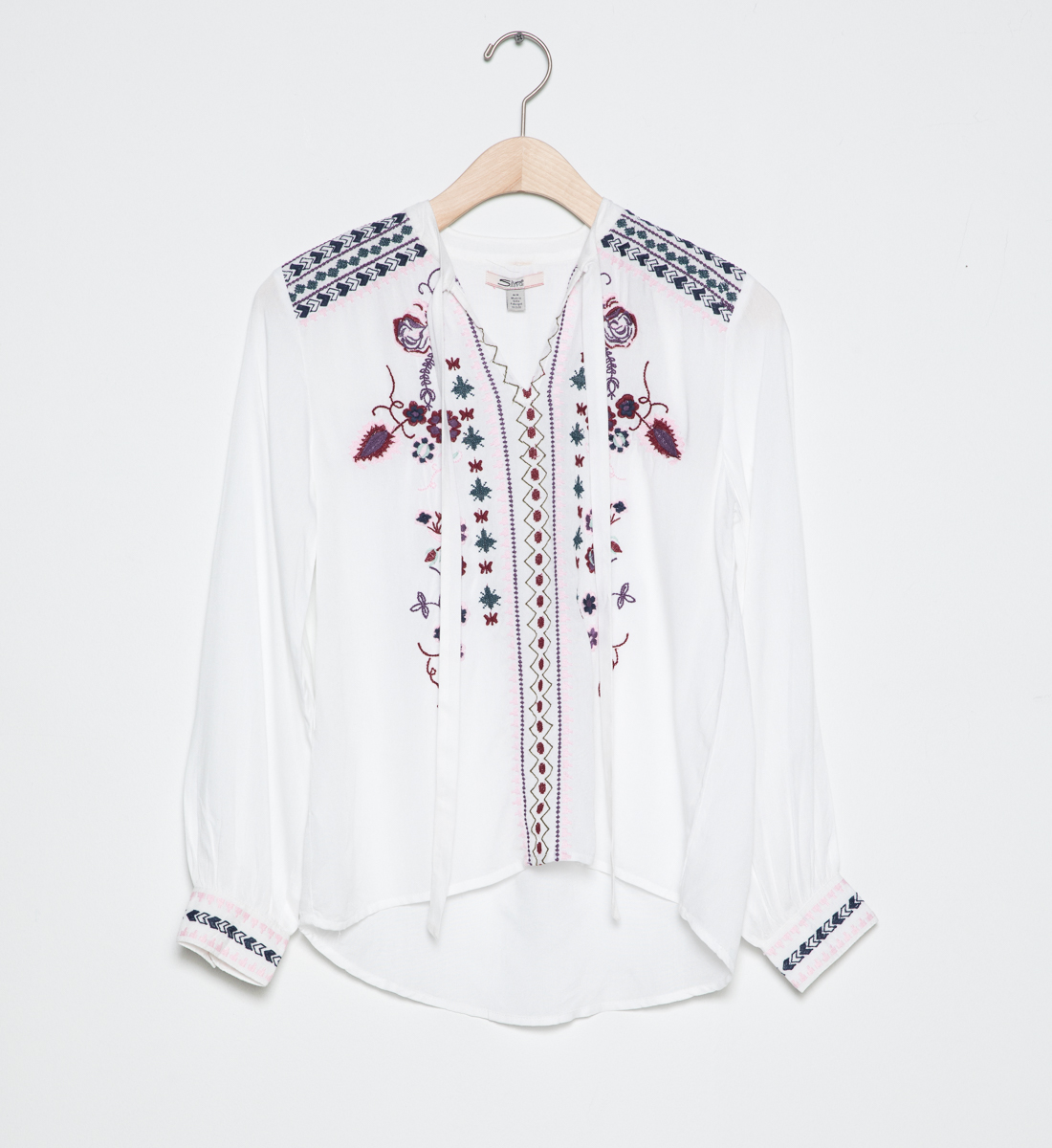 d7040111329b63 Long-Sleeve Embroidered Peasant Top (4-7) - Silver Jeans US