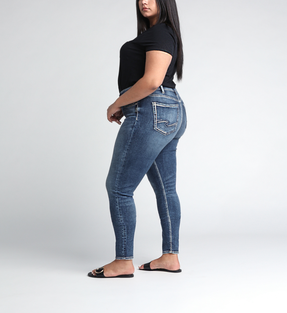 Avery High Rise Skinny Leg Jeans Plus Size Side