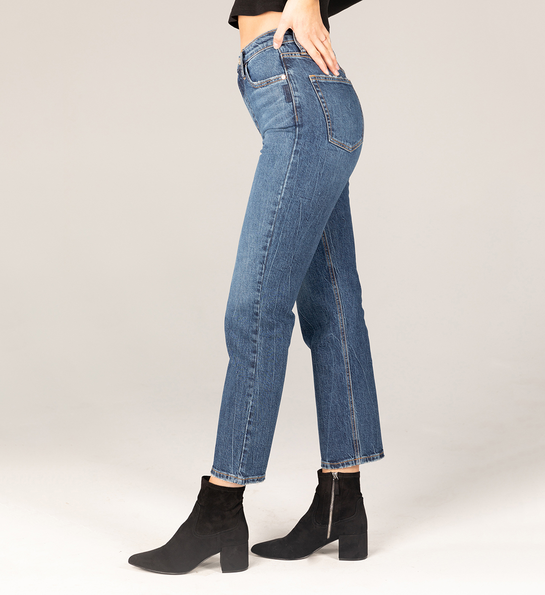 Highly Desirable Super High Rise Straight Leg Jeans Side