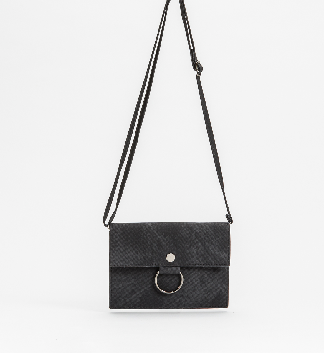 Ring Crossbody Clutch,Black Front