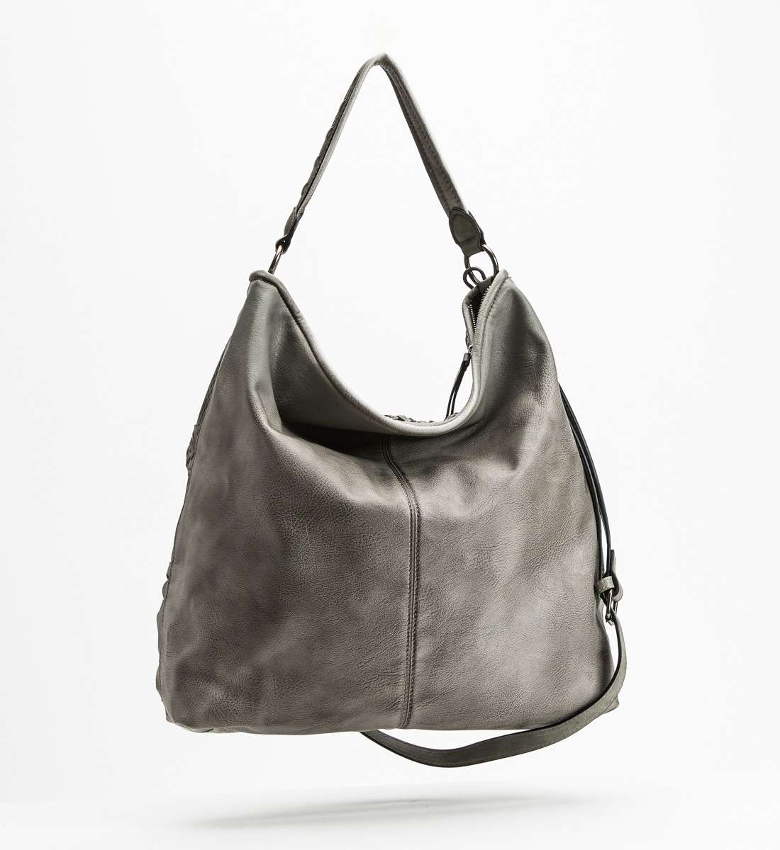 Top-Zip Braided Hobo, Grey, hi-res