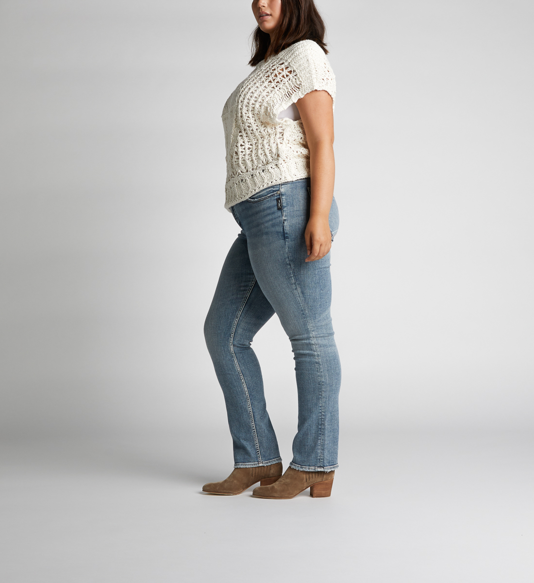 Suki Mid Rise Straight Leg Jeans Plus Size Side