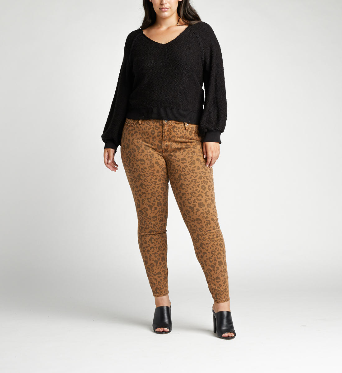 Most Wanted Mid Rise Skinny Plus Size Jeans,Tan Front