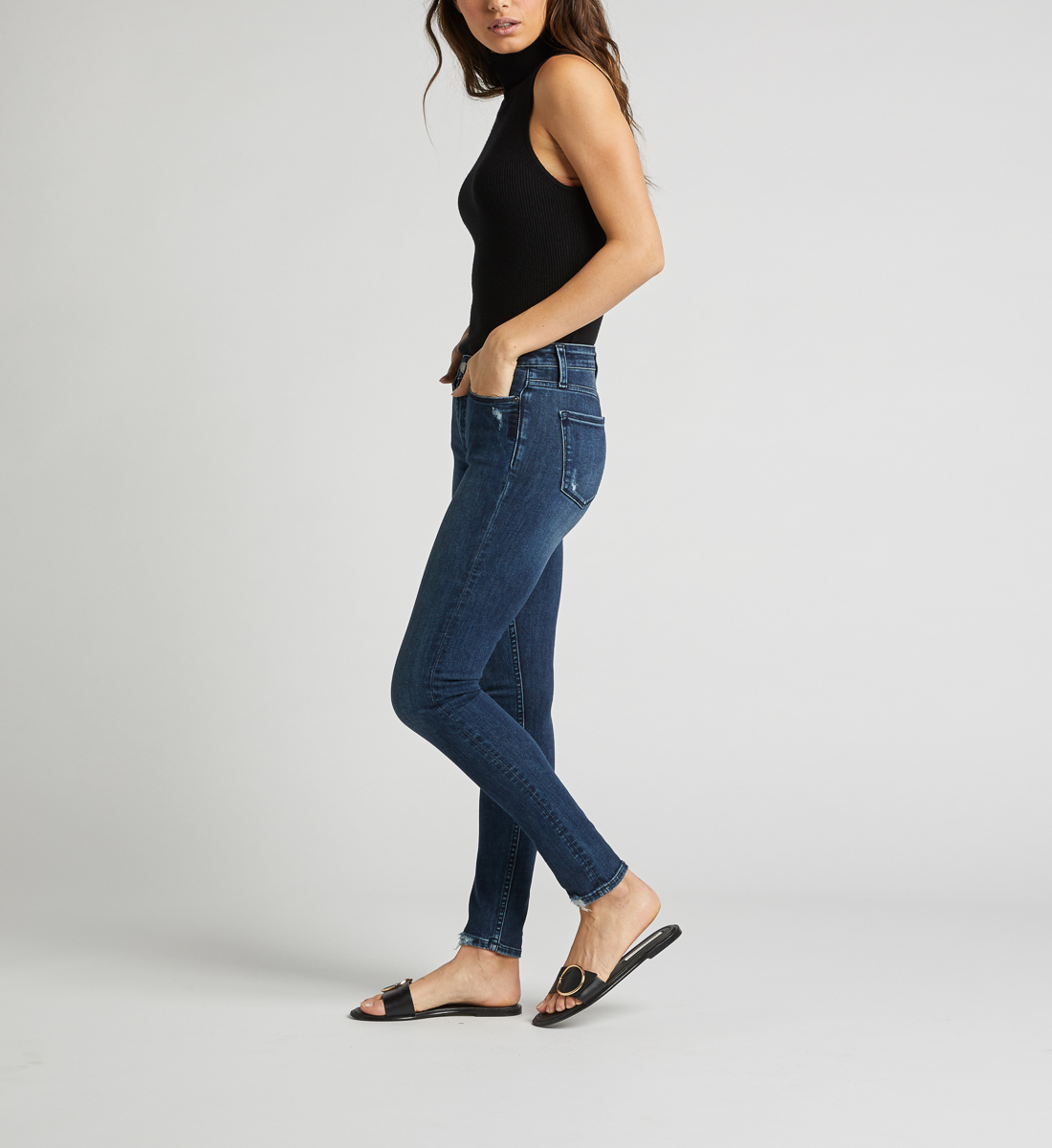 Most Wanted Mid Rise Skinny Leg Jeans Side