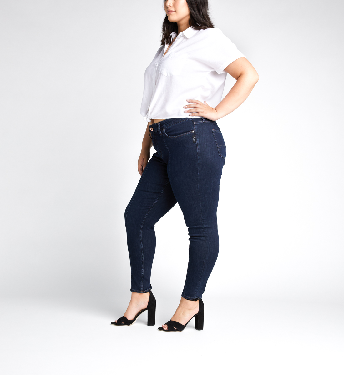 Avery High Rise Skinny Leg Jeans Plus Size,Indigo Side