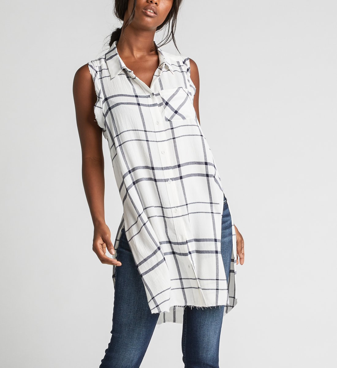 Summer Plaid Frayed Button-Down Tunic, , hi-res