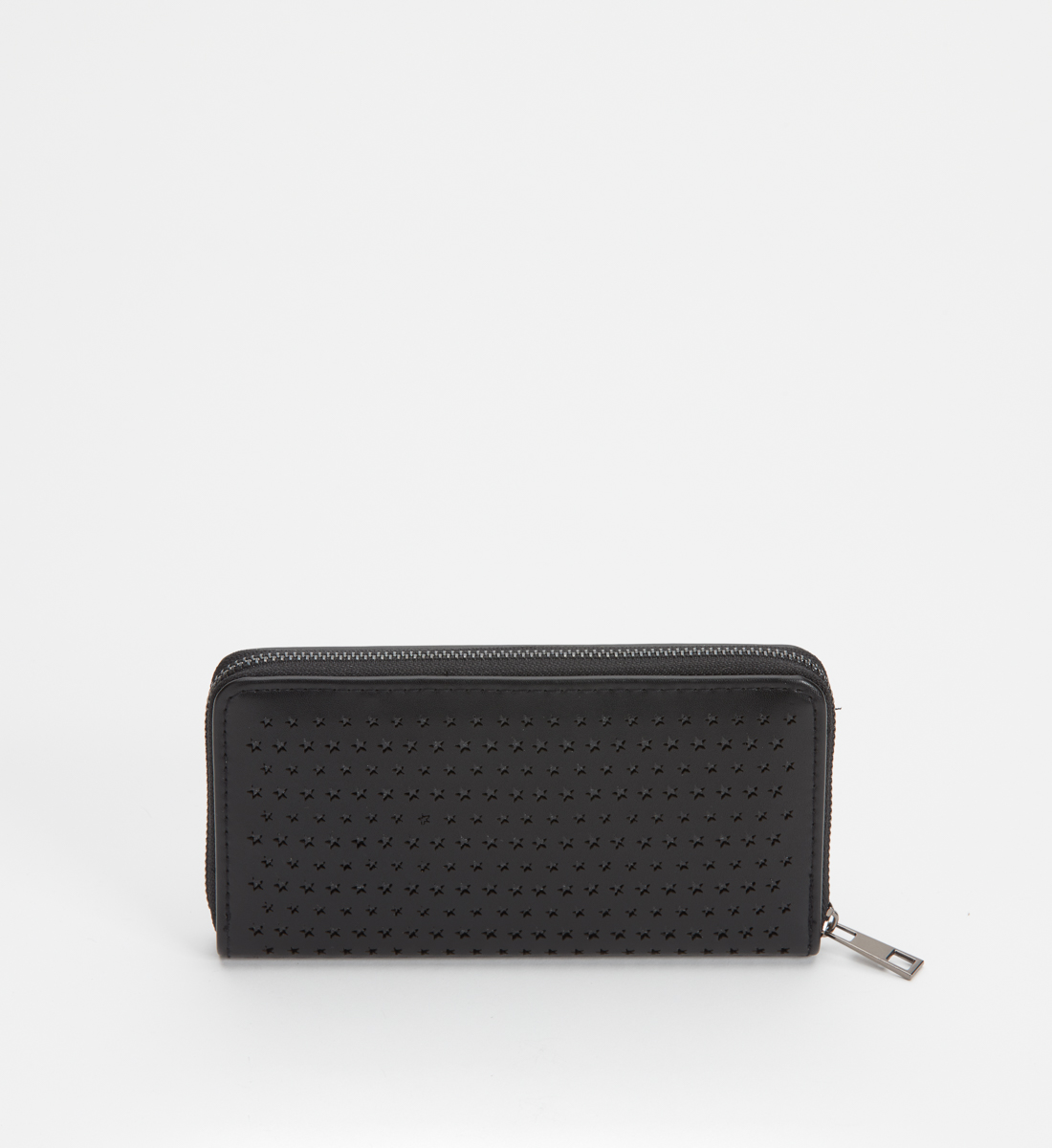 Zip-Around Laser-Cut Star Wallet,Black Back