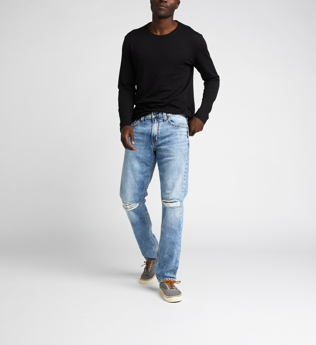 Eddie Relaxed Fit Tapered Leg Jeans,Indigo Front