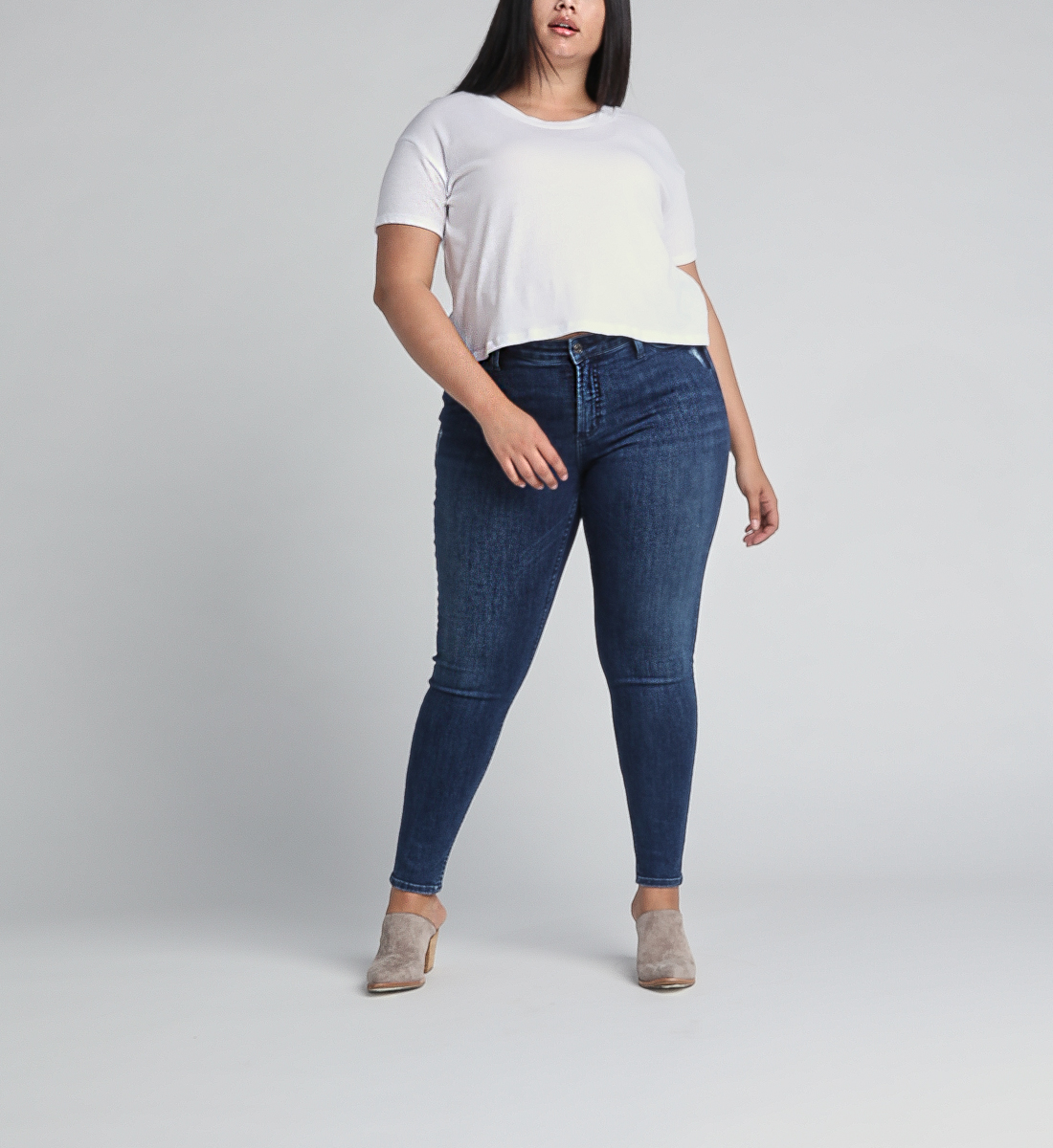 Most Wanted Mid Rise Skinny Leg Jeans Plus Size,Indigo Front