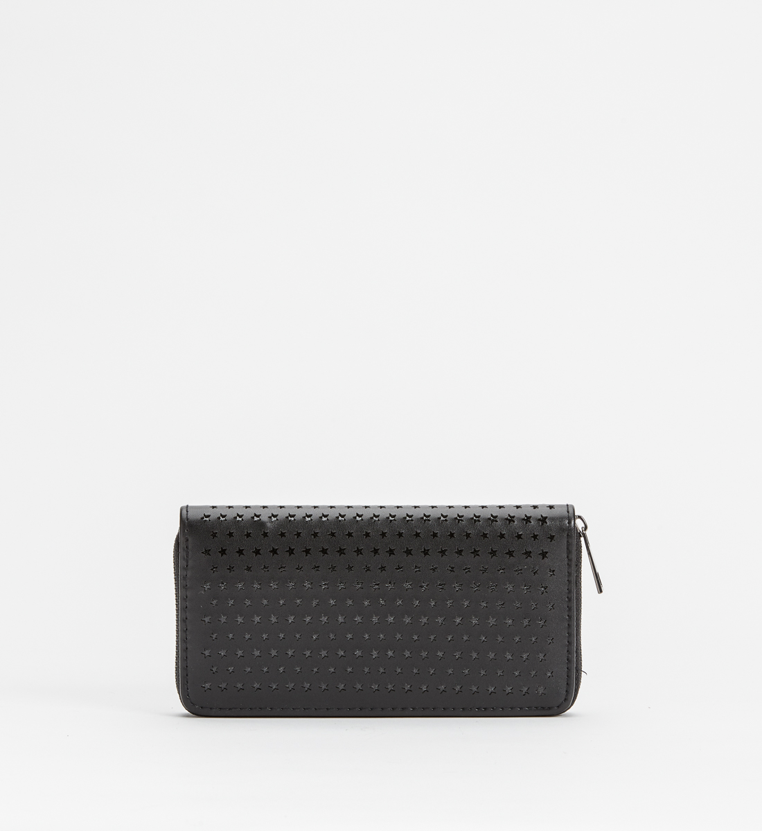 Zip-Around Laser-Cut Star Wallet,Black Front