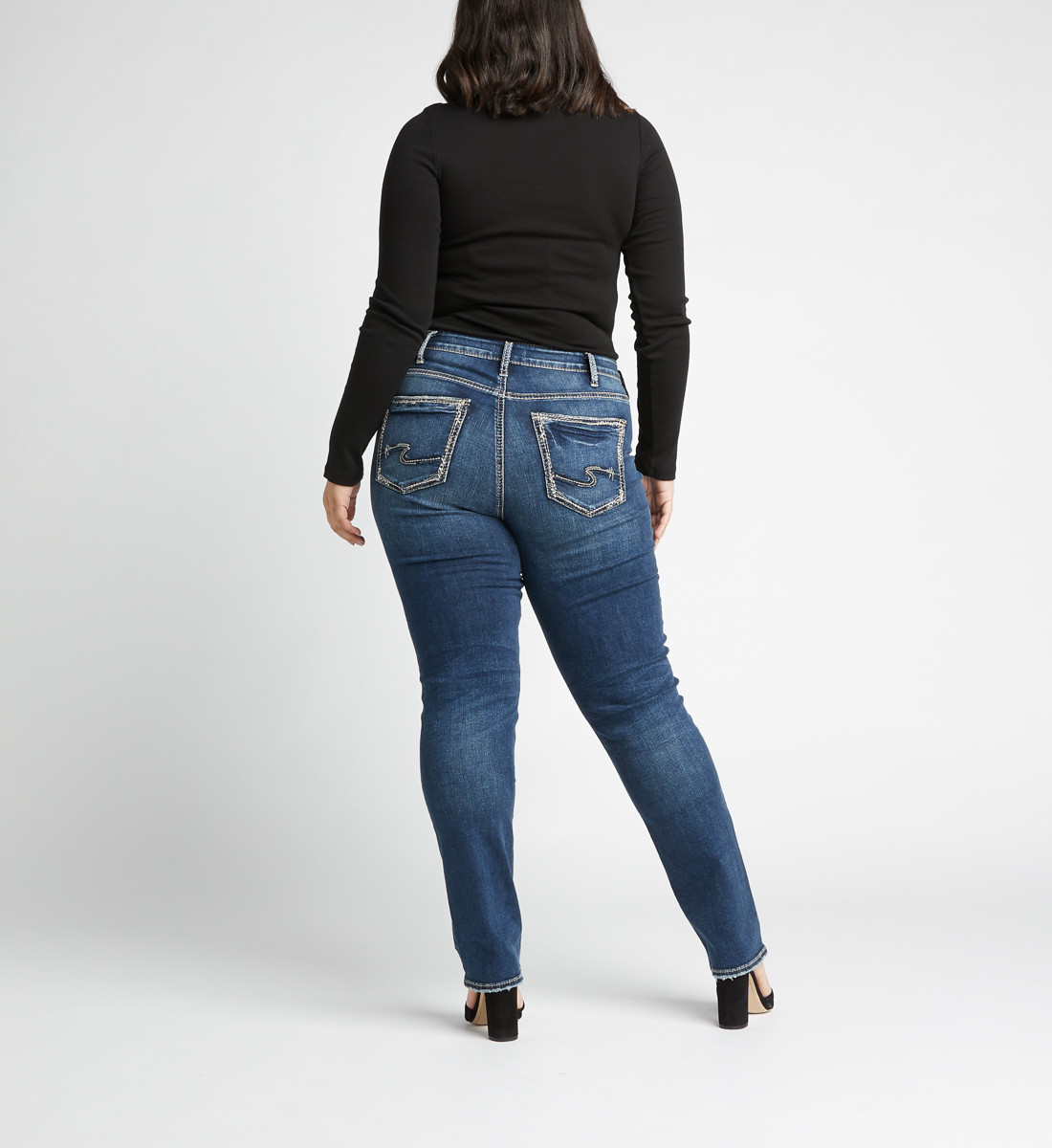 Avery High Rise Straight Leg Plus Size Jeans Back