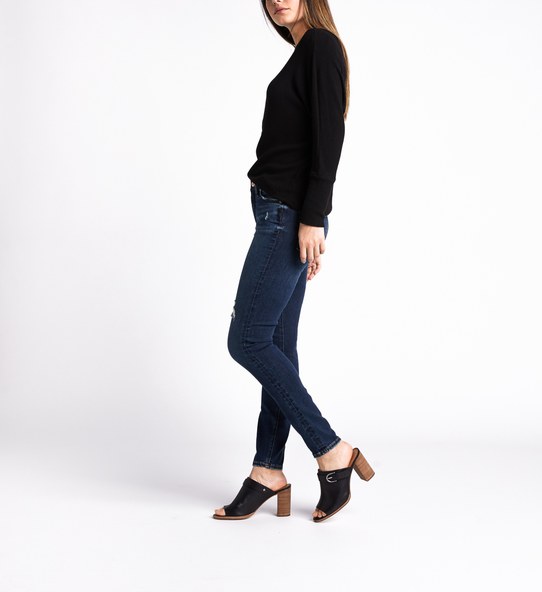 Most Wanted Mid Rise Skinny Leg Jeans,Indigo Side