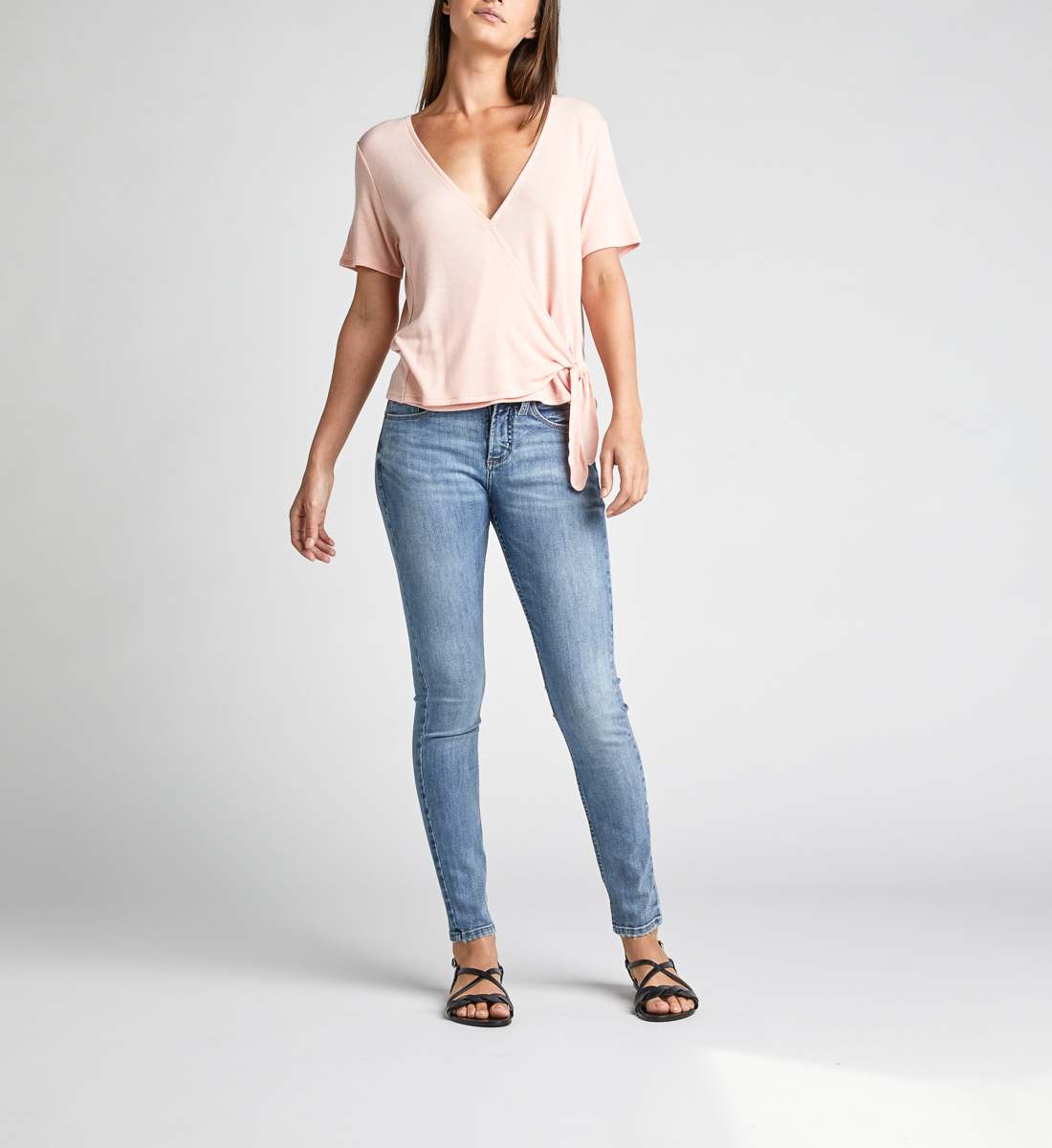 Adriel Side-Tie Wrap Tee,Light Rose Back