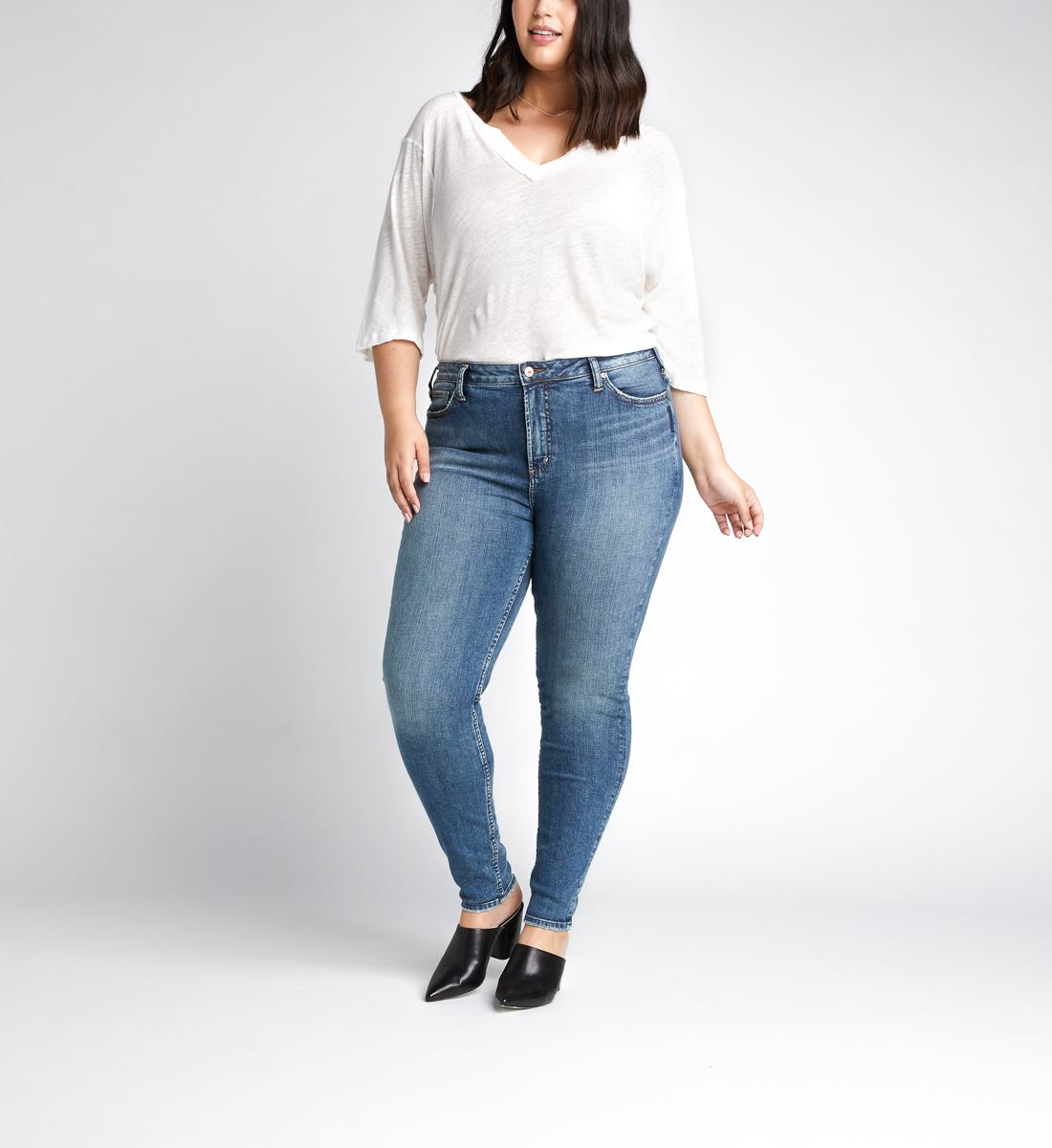 High Note High Rise Skinny Leg Jeans Plus Size,Indigo Front