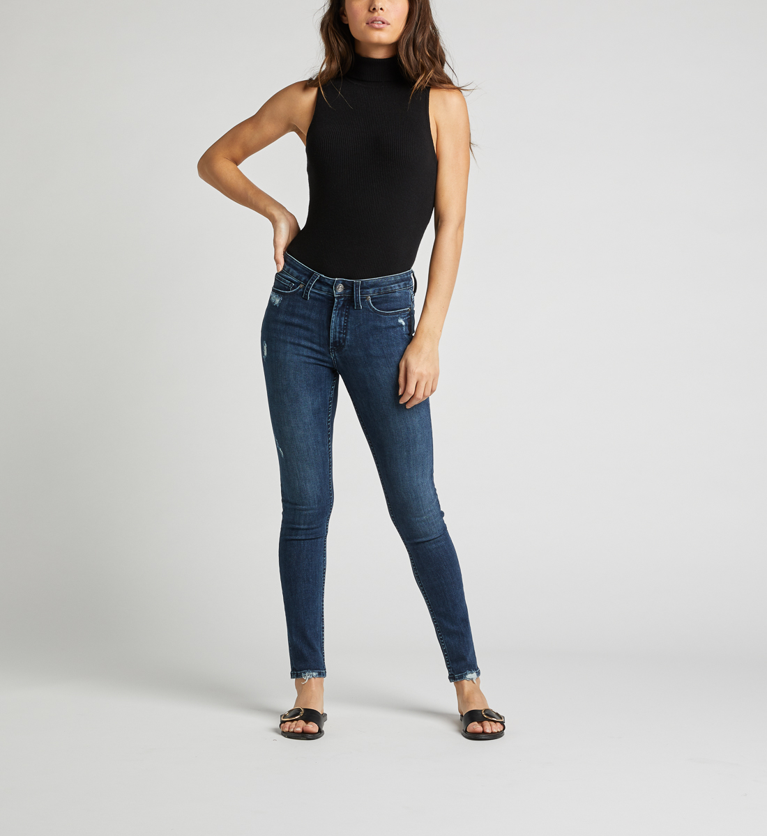 Most Wanted Mid Rise Skinny Leg Jeans Front