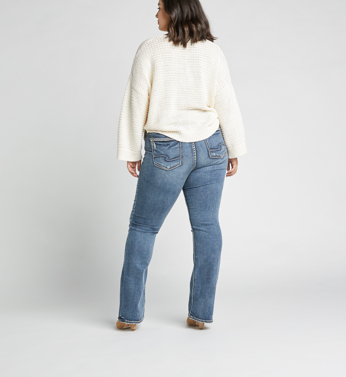Elyse Mid Rise Slim Bootcut Plus Size Jeans Back
