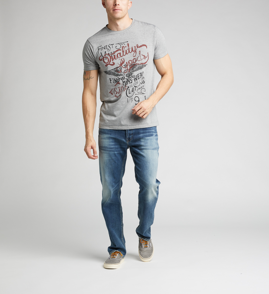 Daylan Short-Sleeve Graphic Tee,Heather Grey Back