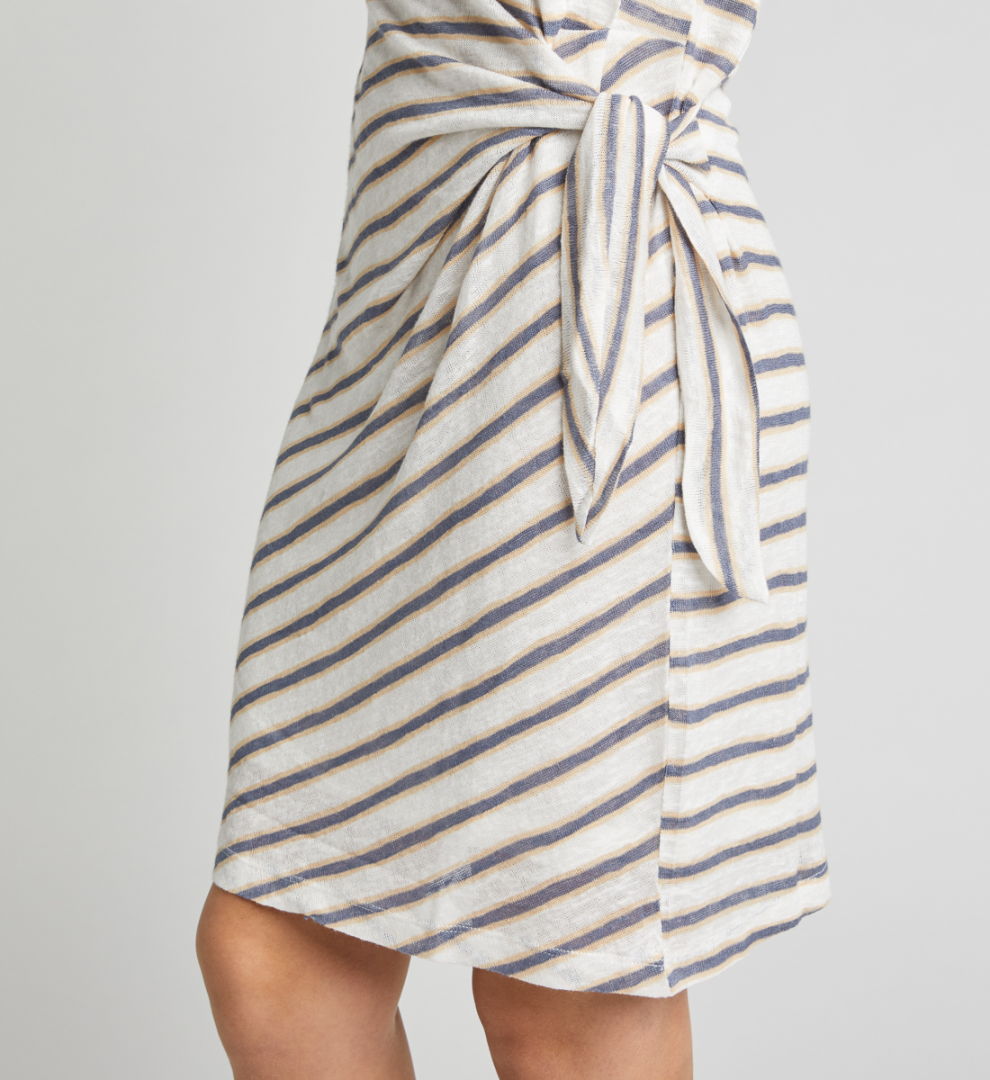 Arlene Side-Knot Striped Dress,White Alt Image 1